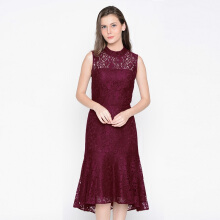 A&D Ladies Long Dress Brokat Ms 989 - Maroon