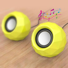PopuPine M01 2pcs USB Powered LED Shining Speaker for Mobile Phone PC