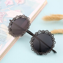 Women Fashionable Grid Hollowed-out Sunglasses Retro Metal Sun Glasses