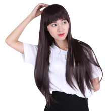 Women Natural Soft Heat Resistant Long Straight Hair Wigs with Bangs Modified Face