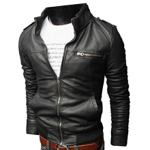 Men's Slim PU Leather Motorcycle Rider Black Jacket