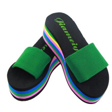 BESSKY Women Rainbow Summer Non-Slip Sandals Female Beach Slippers _