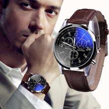 BESSKY Luxury Fashion Faux Leather Mens Blue Ray Glass Quartz Analog Watches- Brown