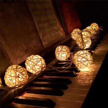 BESSKY 10 LED Color Rattan Ball String Fairy Lights For Xmas Wedding Party Hot YE_