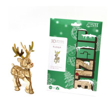 JIGZLE 3D Puzzle Kayu - Rudolph The Red Nose Deer (With Color)