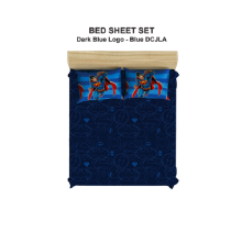 PILLOW PEOPLE Bed Sheet Set DC Justice Leagueof America - Dark Blue Logo & Blue / 180x200cm