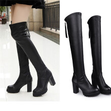 BESSKY Fashion Leather Over Knee Boots Women Toe Elastic Stretch Thick Heel Boots _