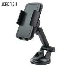 JEREFISH Long Arm Car Phone Holder Car for iPhone 360 Rotating Dashboard Universal Adjustable Windshield Car Mobile Holder Black