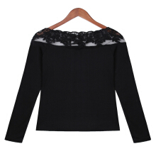 ZANZEA Women's Lace Bottom Shirt Long Sleeve T-Shirt - Black