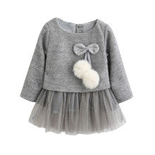 BESSKY Toddler Baby Kid Girls Long Sleeve Knitted Bow Newborn Tutu Princess Dress 0-24M_