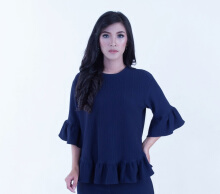 Rianty Basic Atasan Wanita Blouse Rena - Blue Blue All Size