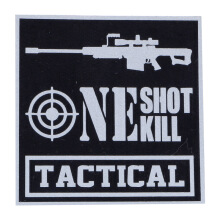 Tactical Series Velcro Patch 9 x 9 cm - Tactical One Shot One Kill - Black Silver Matte