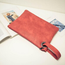 Fashion Feminine Solid Leather Clutch Bag Envelope Evening Bag Handbag