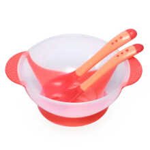 3pcs Babies Skidproof Bowl with Suction Cup Assist Temperature Sensing Spoon(Red)