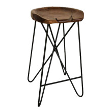IVARO Solid Wood Criss Cross Metal Barstool