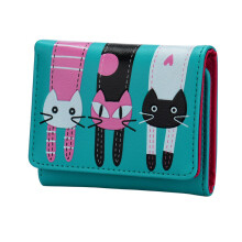 BESSKY Women Cat Pattern Coin Purse Short Wallet Card Holders Handbag_
