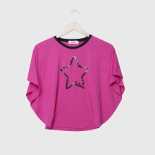 PINK Star Batwing Top