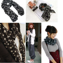 Women Black White Stars Soft Long Chiffon Neck Wrap Kerchief Scarf Stole