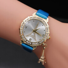 BESSKY Women Quartz Wrist The Eiffel Tower Rhinestone pendant Wrist Watch-
