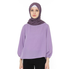 HAZELNUT Demna Basic Blouse Gather Sleeves Lilac [One Size]