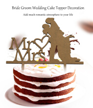Mr Mrs Bride Groom Shape Romantic Wedding Cake Topper Decoration