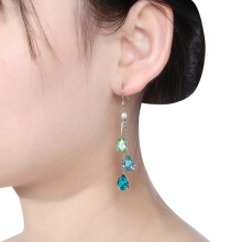 Three Color Water Droplets Rhinestone Mosaicked Earrings