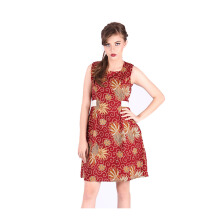 Rianty Batik Dress Wanita Paula - Red