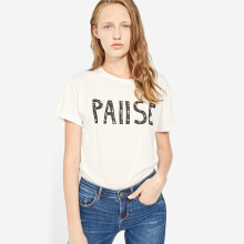 STRADIVARIUS T-Shirt with faux pearls - White