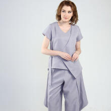 Rianty Basic Atasan Wanita Blouse inez - Gray Grey All Size