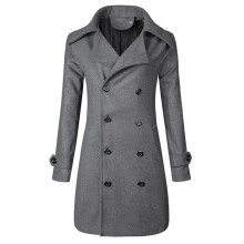 BESSKY Men Winter Warm Jacket Overcoat Outwear Slim Long Trench Buttons Coat _