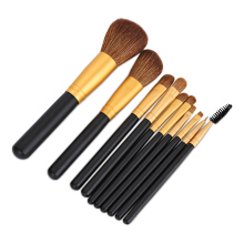 10pcs Portable Makeup Brushes Set with Leather Bag