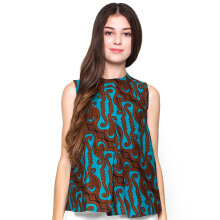 FBW Ballina Front Pleat Batik Blouse Parang - Green