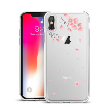 iPhone X Case,ESR Clear Soft Cute Cartoon Pattern Design TPU Transparent Protective Cover for iPhone 5.8 inches (Cherry Blossoms