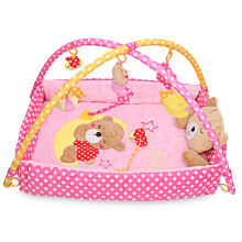 Baby Soft Play Mat Bear Folding Gym Blanket-Pink