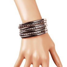 Sparkling Wide Leather Rhinestones Women Bracelet