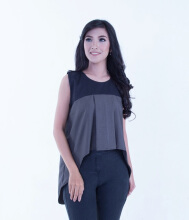 Rianty Basic Atasan Wanita Blouse Olivia - Black & Gray Black All Size