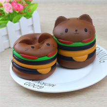 BESSKY Jumbo Cartoon Cat Hamburger Scented Slow Rising Exquisite Kid Soft Toy-