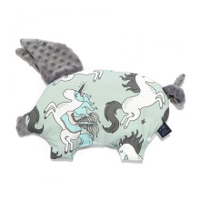 LA MILLOU Sleepy Pig Pillow - Unicorn Rainbow Knight Galaxy Grey SP083GY