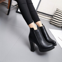BESSKY Winter High Heel Boots Pointed Martin Boots Short Thick Short Boot Shoes _