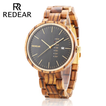 REDEAR SJ1639 Unisex Quartz Wooden Watch Calendar Wood Grain Dial Wristwatch