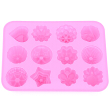 DIY Kitchen Muffin Cake Bakeware 12 Flowers Silicone Rubber Baking Mold