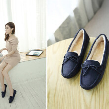 BESSKY Winter Women Students Soft Rubber Soles Butterfly Leisure Peas Flat Shoes_
