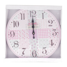 BLOOM & BLOSSOM Wall Clock - Pink Flower Patchwork