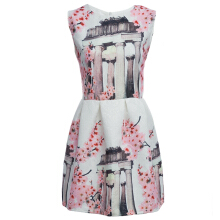Cute Round Collar Sleeveless Floral Pattern A-Line Ball Gown Dress for Women