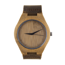 Luxury Men's Women's Bamboo Wood Watch Quartz PU Leather Wristwatches