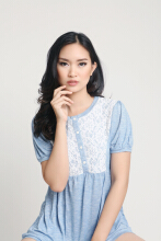 MOBILE POWER Ladies Babydoll Blouse Brocade Combination - Babyblue G6823