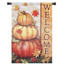 Welcome Pumpkins Fall Garden Flag Decorative Autumn Leaves 12'' x 18''