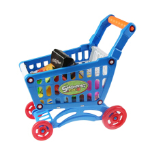 Kids Supermarket Mini Shopping Cart with Play House Toy Playset(Blue)
