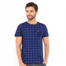 FAMO Printed Casual Basic Tee - Blue