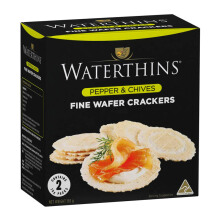 WATERTHINS Fine Wafer Crackers Pepper & Chives 150gr